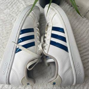 Adidas Grand Court Blue Metallic Stripe Sneakers 8